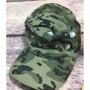 Camo Hat Womens Newsboy Hat Rhinestones Green